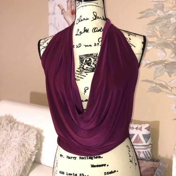 a'gaci Tops - Magenta Purple Drape front halter top